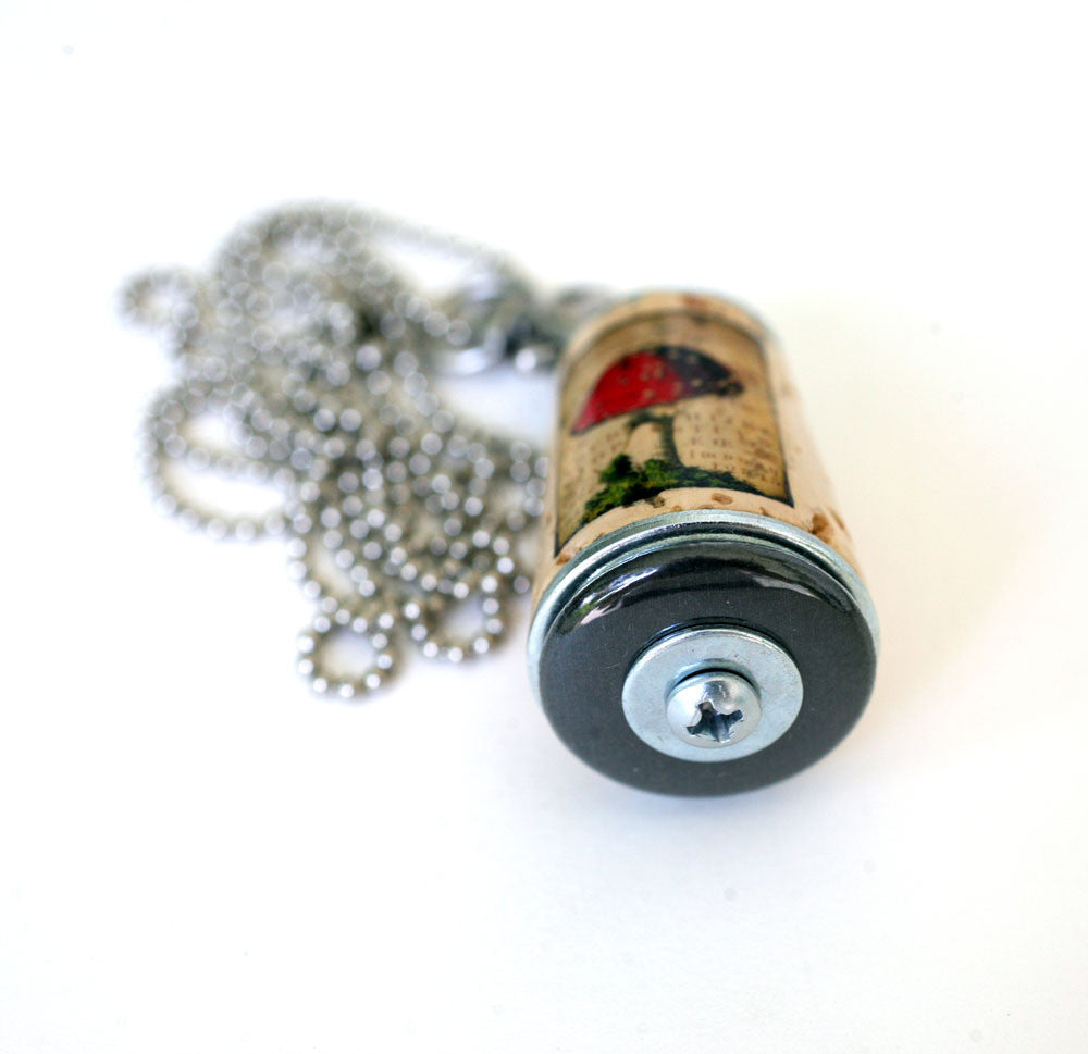 Mushroom Necklace | Cork in Test Tube and Wood Cube