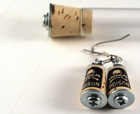 Poison Skull Cork Earrings | Test Tube and Wood Cube