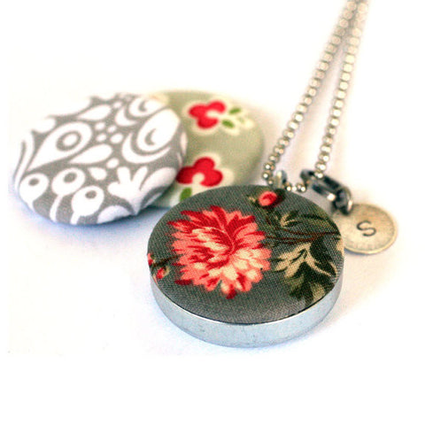 Fabric Magnetic Locket Necklace - Grey and Cream