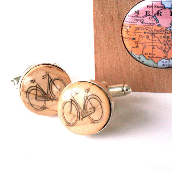 Bicycle Cufflinks - Recycled Cork