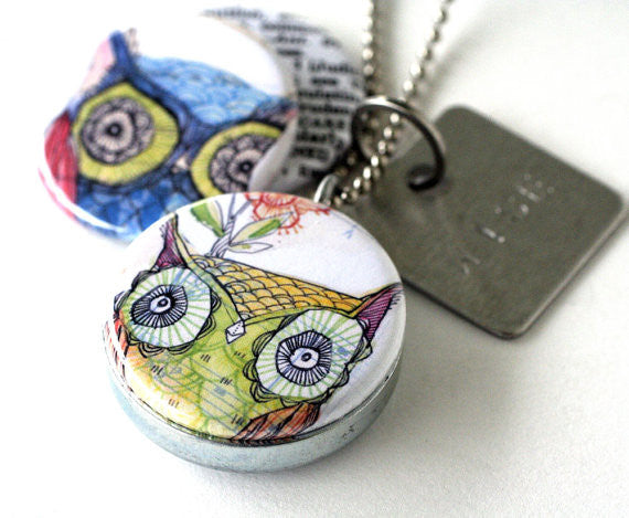 Owl Magnetic Locket Necklace