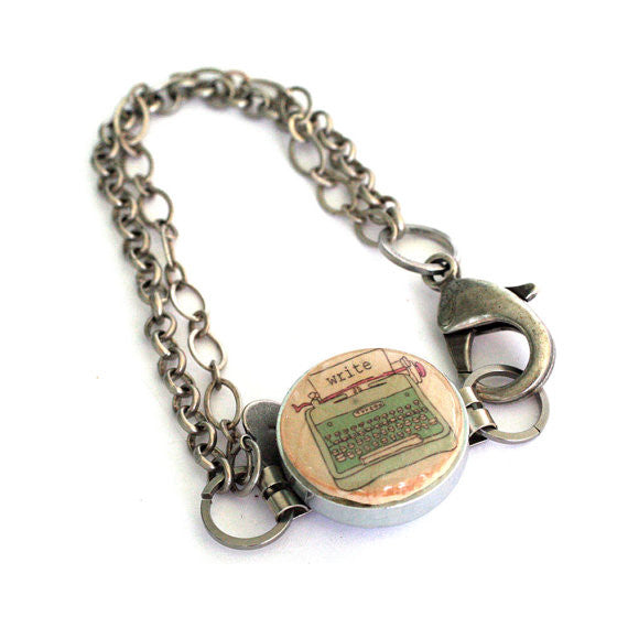 Typewriter Bracelet - Silver Chain, Recycled Wine Cork