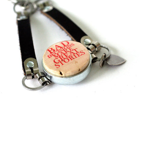 Bad Decisions Bracelet - Leather Strap, Wine Cork