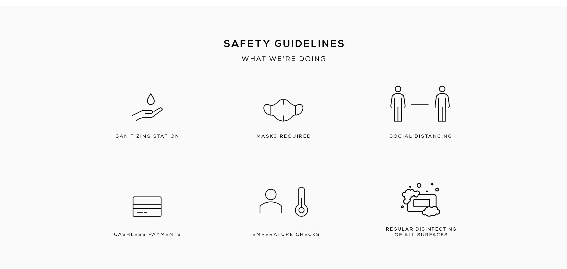 covid safety guidelines for store, sanitizing station, masks required, social distancing, cashless payments, temperature checks, regular disinfecting of all surfaces