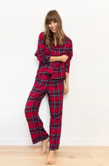 Clara Long Sleeve Pant Set - Scarlet Navy White