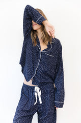 Kenzie Long Sleeve Pant Set - Navy Mini Hearts