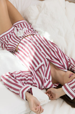 Long Sleeve Short Set with Piping - Toledo Stripe