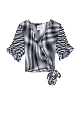 Athena Black Mini Gingham Blouse