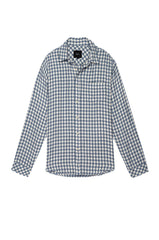 Lennox Long sleeve, button-down, relaxed fit shirt with single chest pocket in washed blue and cream check - flat