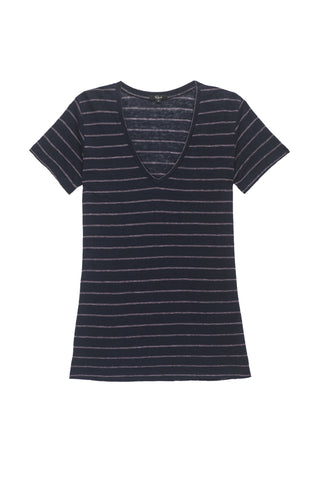 Cara - Navy Peach Stripe