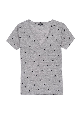 Cara - Heather Grey Black Hearts