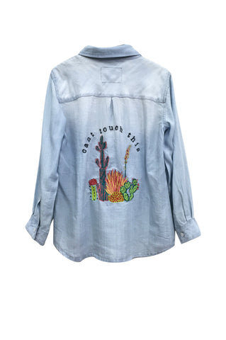 LR Carter - Light Vintage Cactus Embroidery
