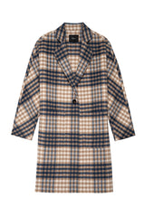 Everest wool blend trench coat in beige blue plaid - flat