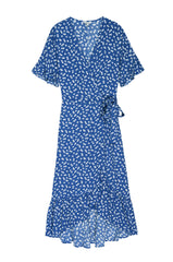 Florence Cobalt Floating Daisies, Women's Short Flutter Sleeve Dress,