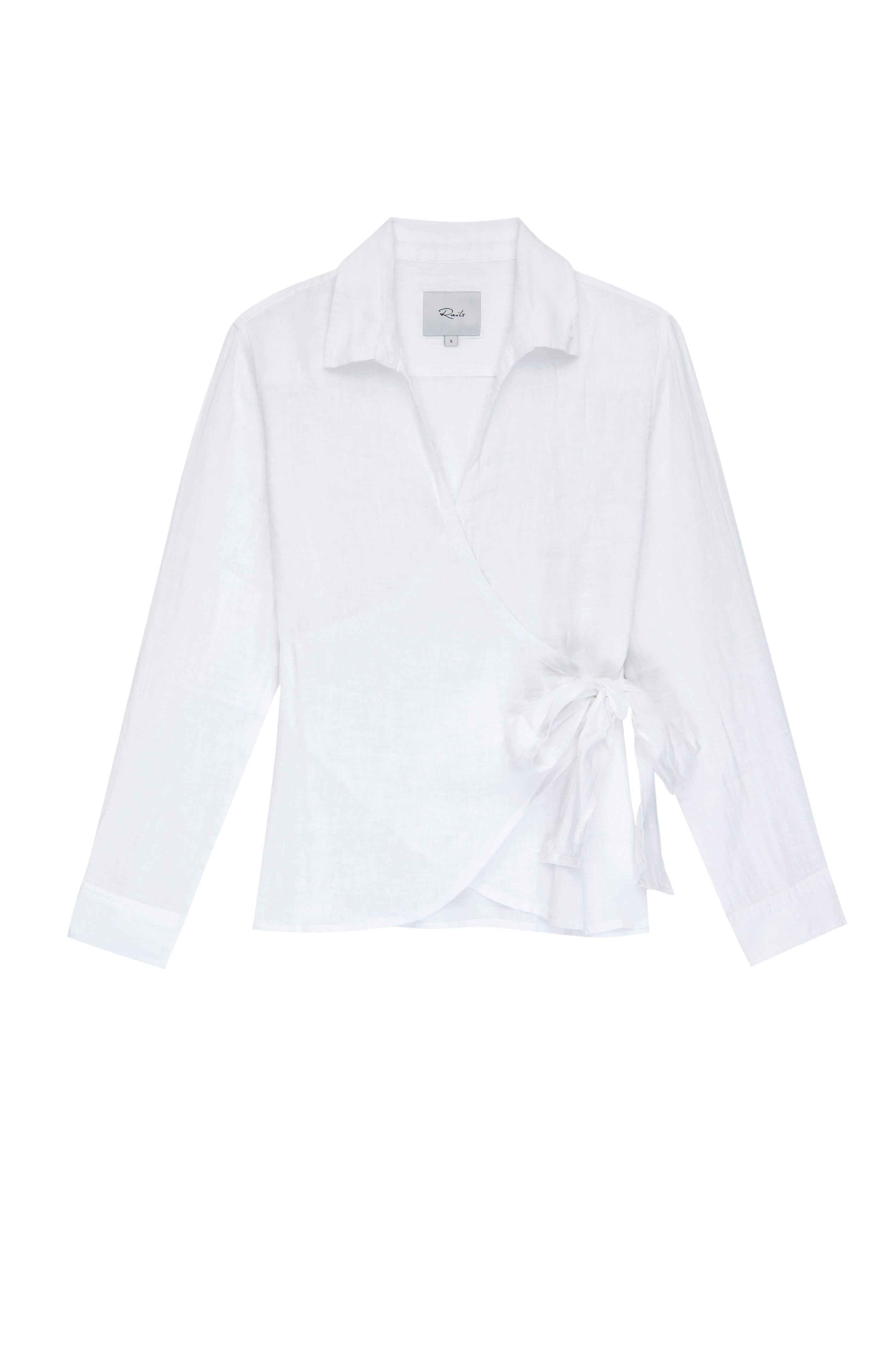 Giselle White, Women's Long Sleeve Wrap Top