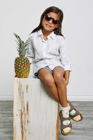 Little Rails Cora Gold Pineapples Shirt