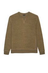 Irving long sleeve, relaxed crewneck pullover in Olive - flat