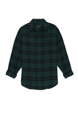Lennox Long sleeve, button-down, relaxed fit shirt with single chest pocket in emerald green heather and onyx black plaid - flat