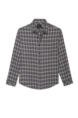 Lennox Long sleeve, button-down, relaxed fit shirt with single chest pocket in emerald heather blue, cream, and beige plaid - flat