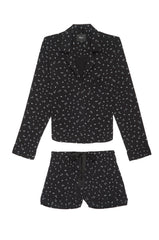 Kellen Long Sleeve Short Set with Piping - Black Scribble Stars