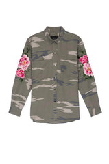 Marcel Sage Camo with Floral Patches Shirt