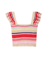 Women's Short ruffle sleeve, cropped sweater tank top, Multi color stripes