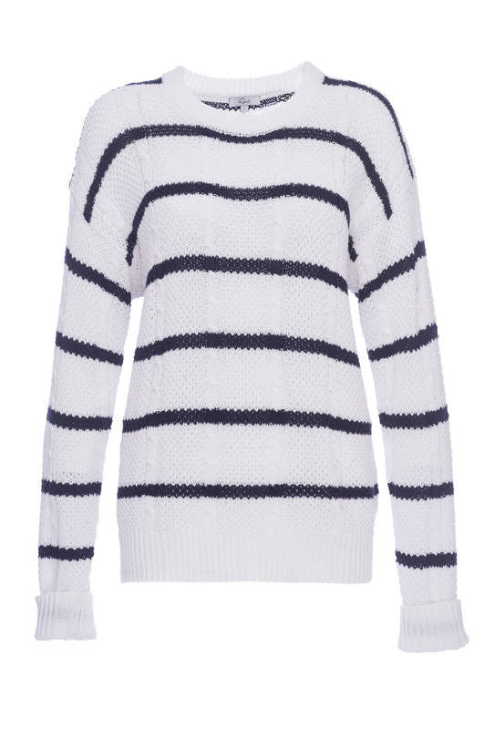 Natasha - White/Navy Stripe