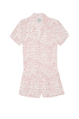 nessa blush tiger stripes pajama buttondown top and short flat