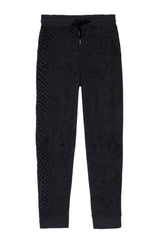 Oakland french terry sweatpant with front pockets, wide elastic waistband, and ribbed tapered leg in black flocked cobra - flat