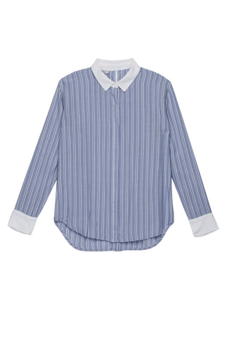 Avery - Powder Blue White  Stripe