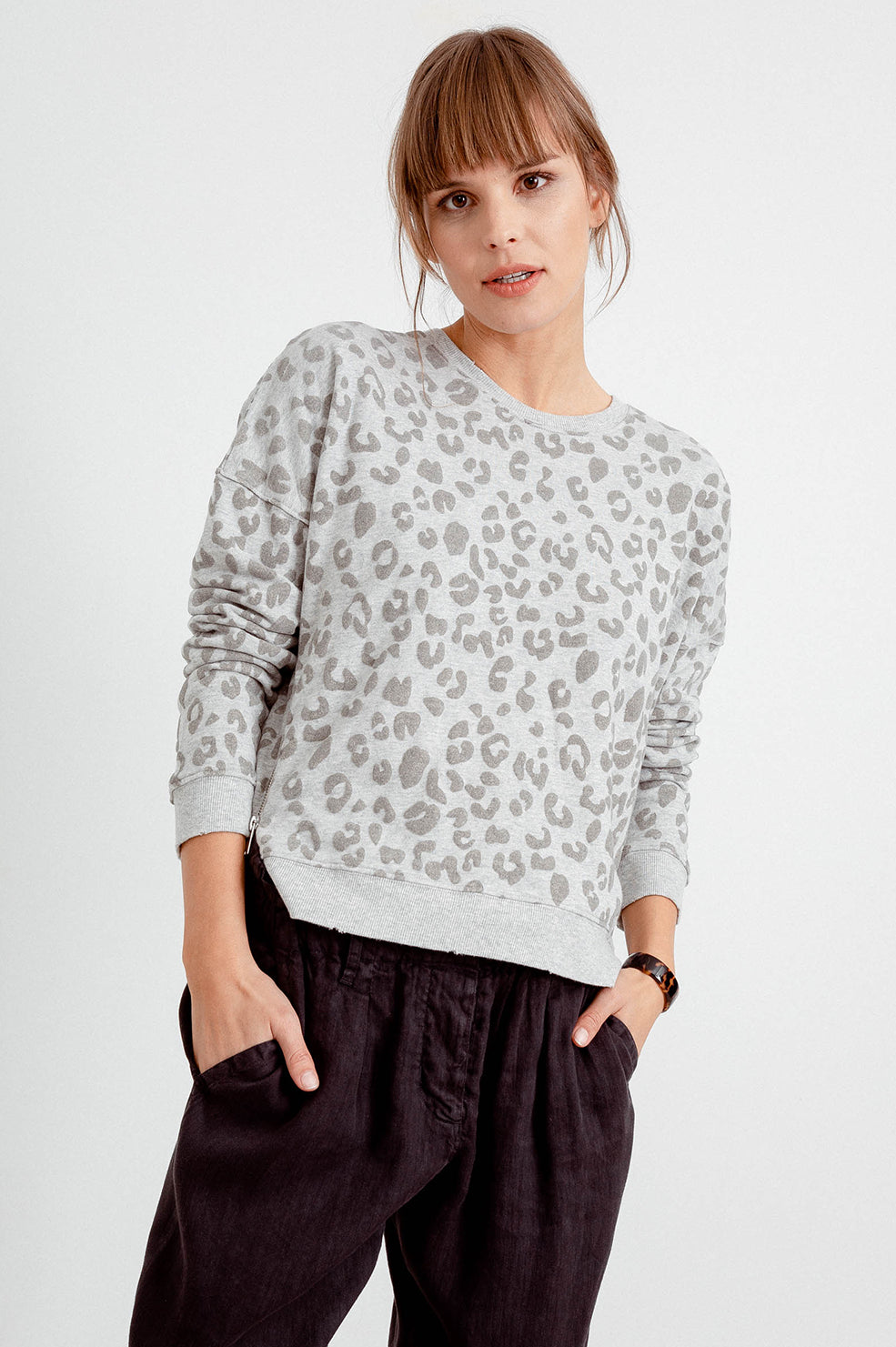 MARLO - FLOCKED HEATHER GREY LEOPARD