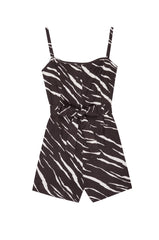 Wells Black Abstract Tiger, Women's Tank Romper