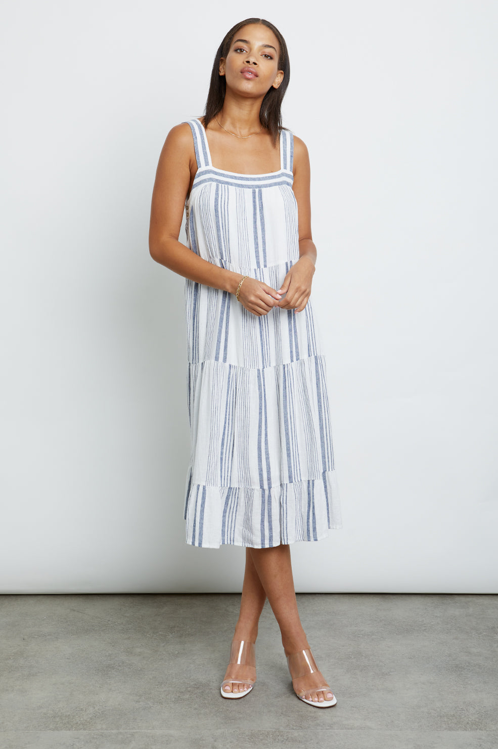 Amaya Dresden Stripe, Women's Sleeveless Dress