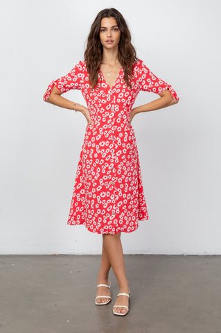 Autumn Cardinal Daisies, Women's Midi Dress, Short Sleeve