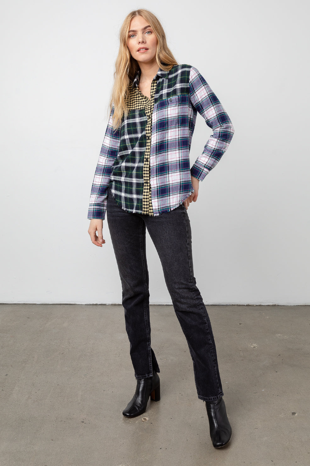 brando mixed brooklyn plaid shirt front