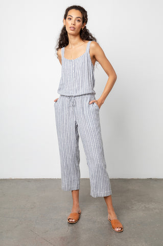 Brooklyn Porto Stripe, Women's Sleeveless Jumpsuit