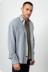 Lennox Long sleeve, button-down, relaxed fit shirt with single chest pocket in washed blue and cream check - front