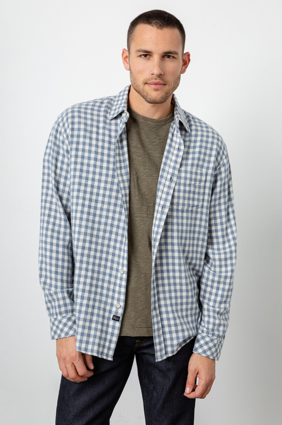 Lennox Long sleeve, button-down, relaxed fit shirt with single chest pocket in washed blue and cream check - side