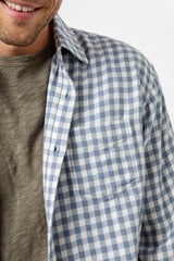 Lennox Long sleeve, button-down, relaxed fit shirt with single chest pocket in washed blue and cream check - detail