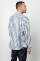 Lennox Long sleeve, button-down, relaxed fit shirt with single chest pocket in washed blue and cream check - back