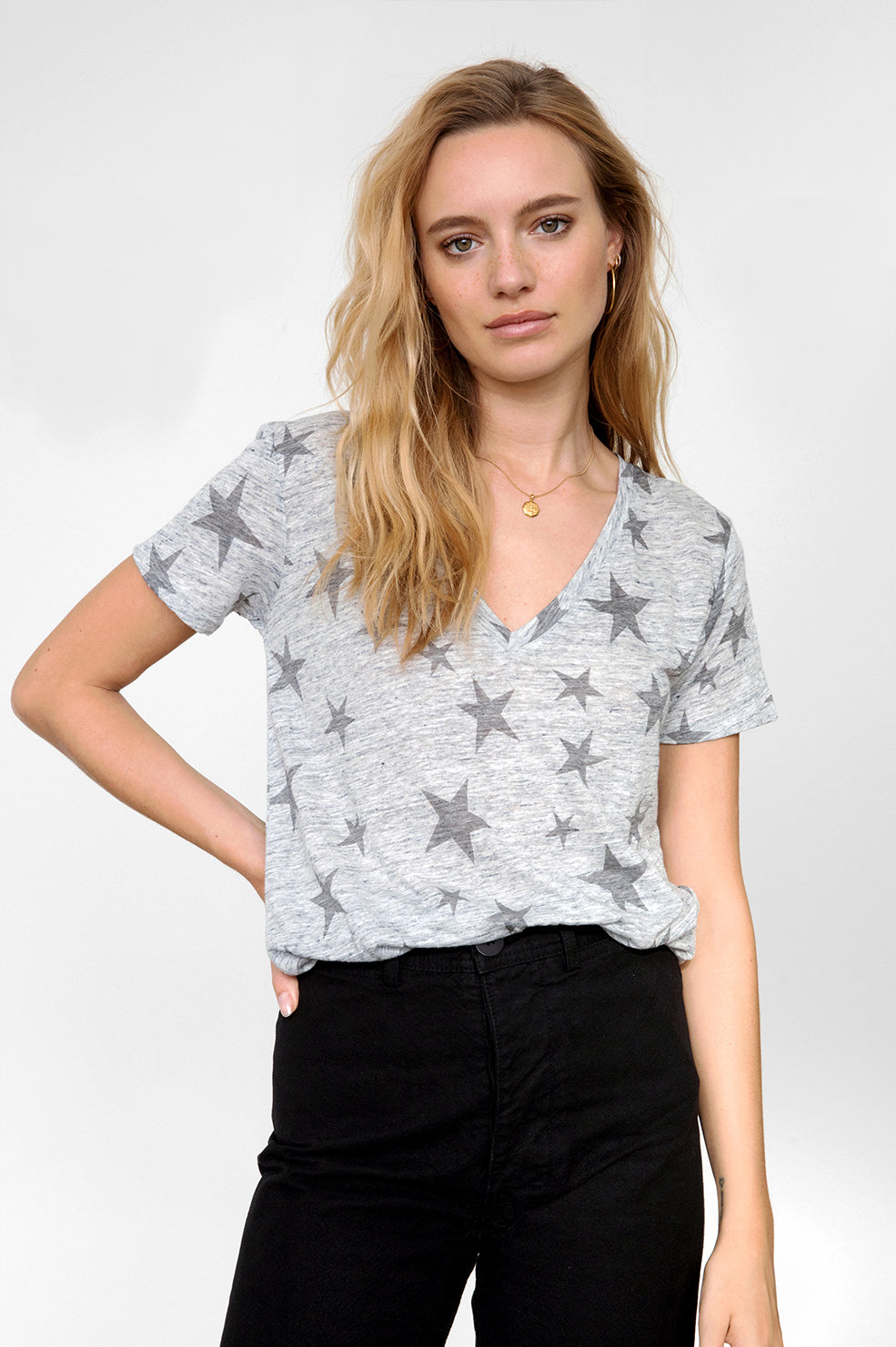 CARA - HEATHER GREY WITH CHARCOAL STARS