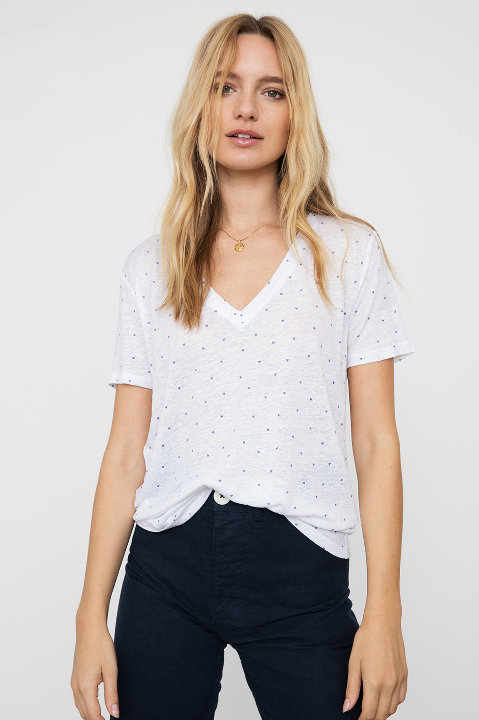 CARA - WHITE NAVY MINI HEARTS