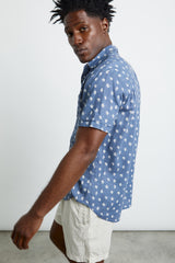 menswear, lightweight linen and cotton, short sleeve blue button-down shirt featuring white ginko leaf print