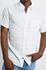 menswear, lightweight linen and cotton, short sleeve, white button-down shirt featuring tonal leaf and vine print