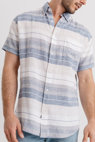 CARSON - NATURAL NAVY STRIPE