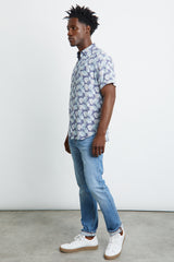 menswear, lightweight cotton, short sleeve, tropical palm print inspired, button-down shirt with single chest pocket