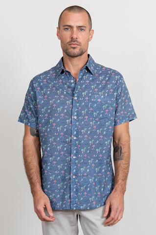 the Carson, tropical beach print, mens, short sleeve, button down