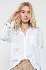 CHARLI - WHITE WITH ROSEGOLD STAR EMBROIDERY