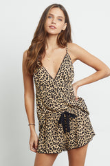 charlotte sand jaguar pajama cami top and short front tucked-in