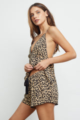 charlotte sand jaguar pajama cami top and short side